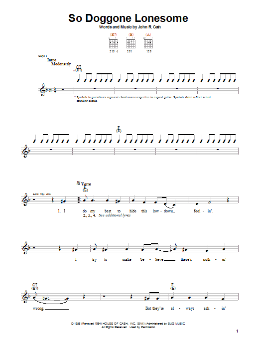 Johnny Cash So Doggone Lonesome Sheet Music Notes Chords