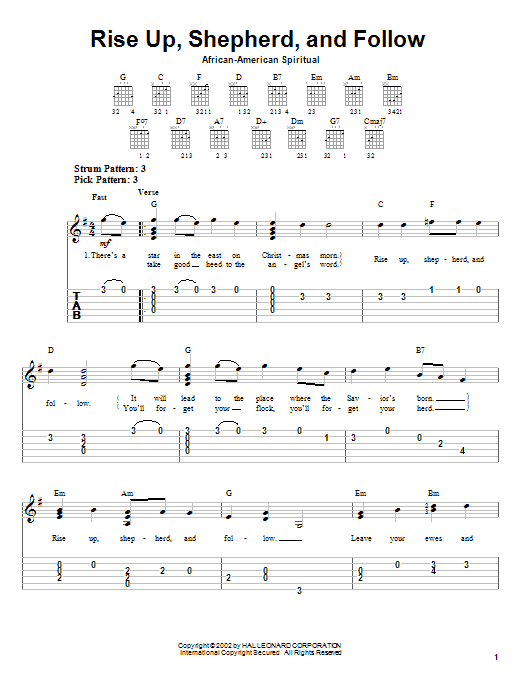 African-American Spiritual 'Rise Up, Shepherd, And Follow' Sheet Music  Notes, Chords | Download Printable Easy Guitar Tab - SKU: 21109