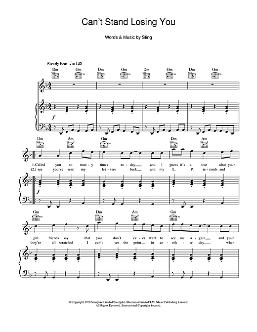 The Police Cant Stand Losing You Sheet Music Notes Chords