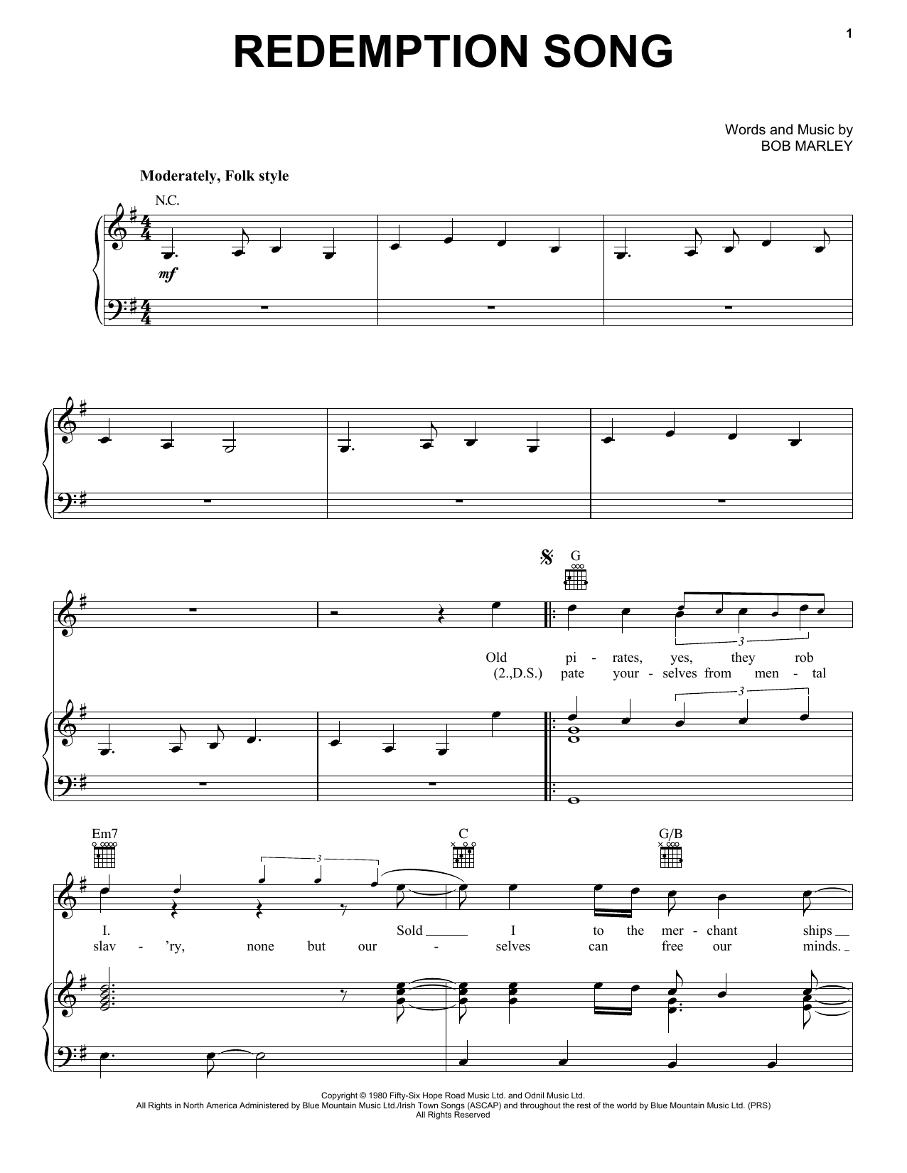Bob Marley Redemption Song Sheet Music Notes Chords Printable