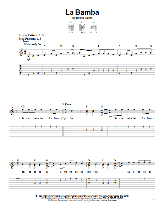 Ritchie Valens La Bamba Sheet Music Notes Chords Printable Pop
