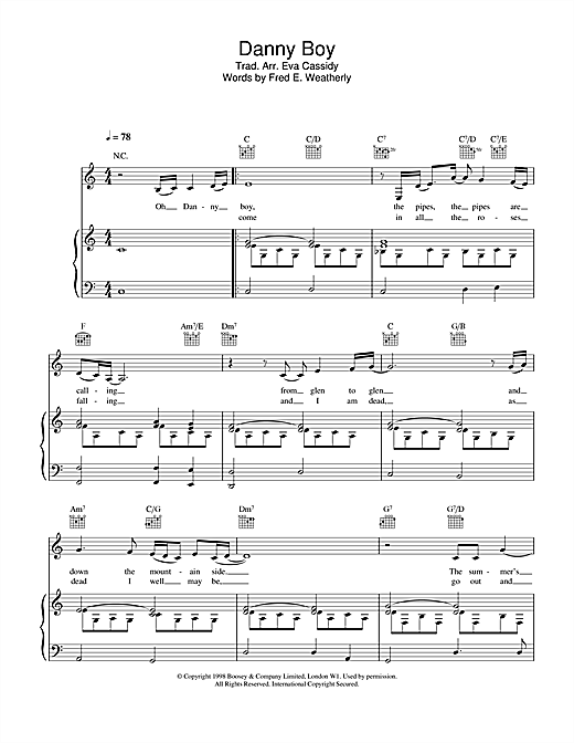 Eva Cassidy Danny Boy Londonderry Air Sheet Music Notes Chords