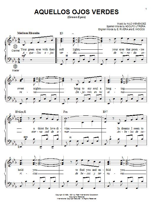 Nilo Menendez Aquellos Ojos Verdes Green Eyes Sheet Music Notes