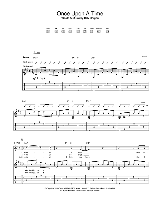 The Smashing Pumpkins Once Upon A Time Sheet Music Notes Chords