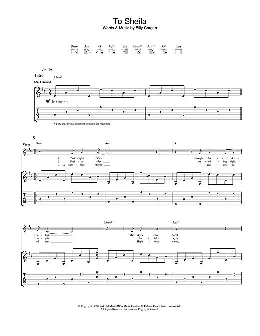 The Smashing Pumpkins To Sheila Sheet Music Notes Chords