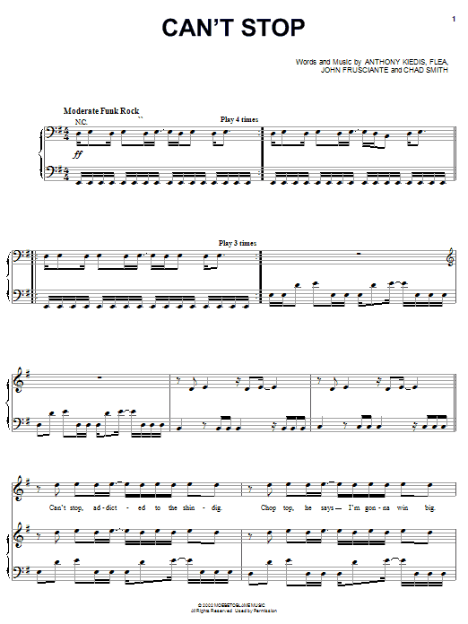 Red Hot Chili Peppers Cant Stop Sheet Music Notes Chords