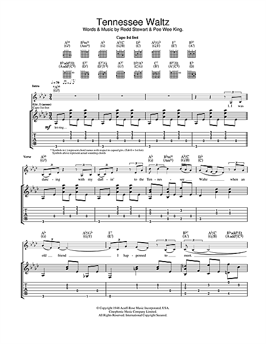 Eva Cassidy Tennessee Waltz Sheet Music Notes Chords Printable