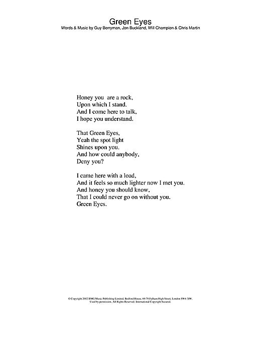 Coldplay Green Eyes Sheet Music Notes Chords Printable Pop
