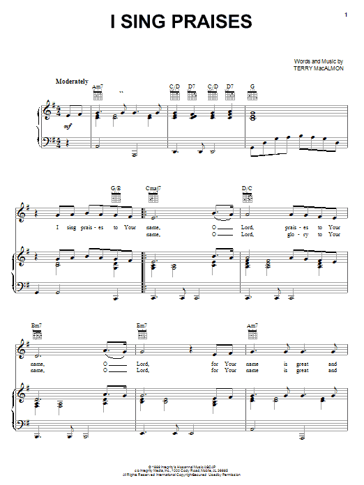 Terry Macalmon I Sing Praises Sheet Music Notes Chords