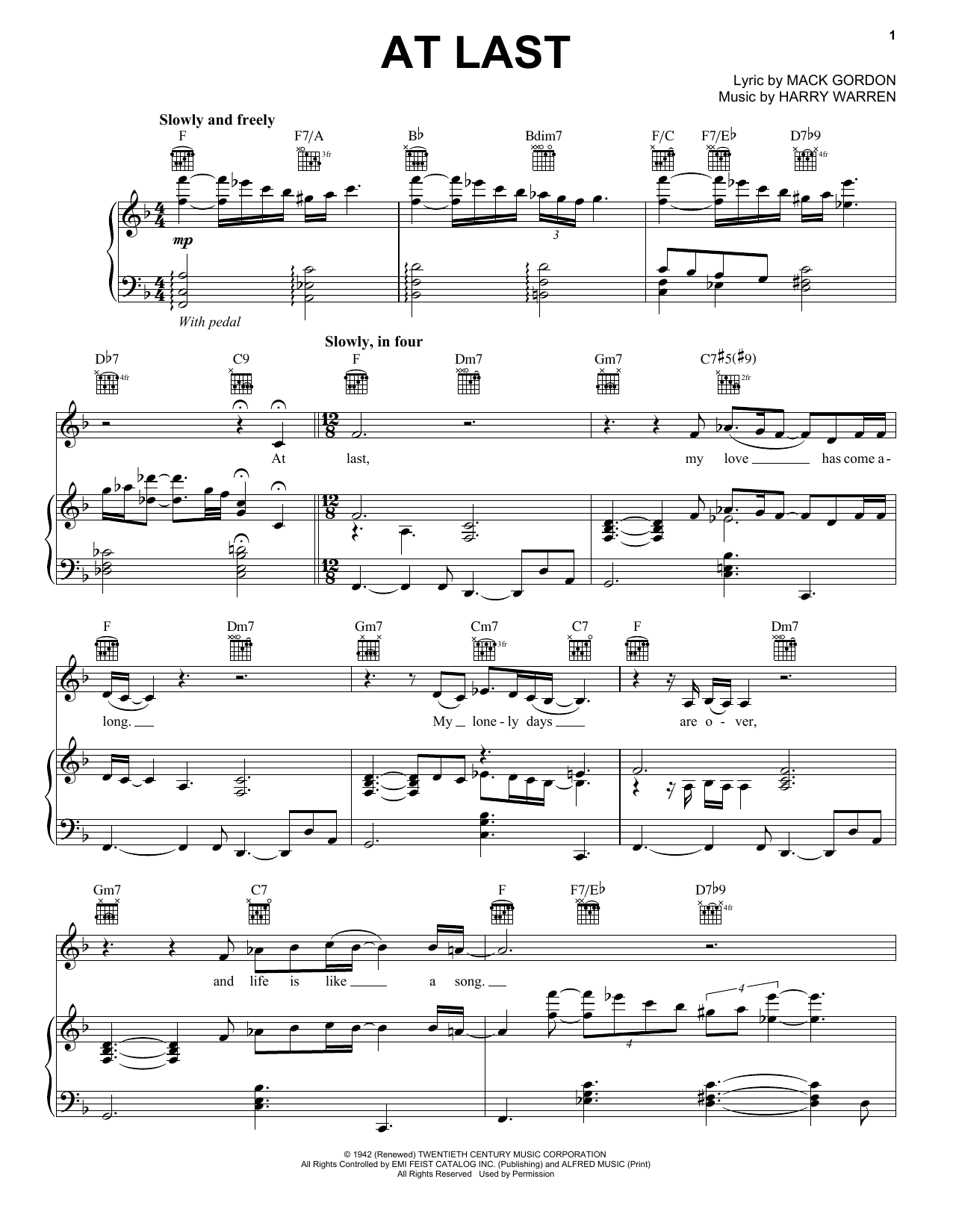 Etta James At Last Sheet Music Notes Chords Printable Film And
