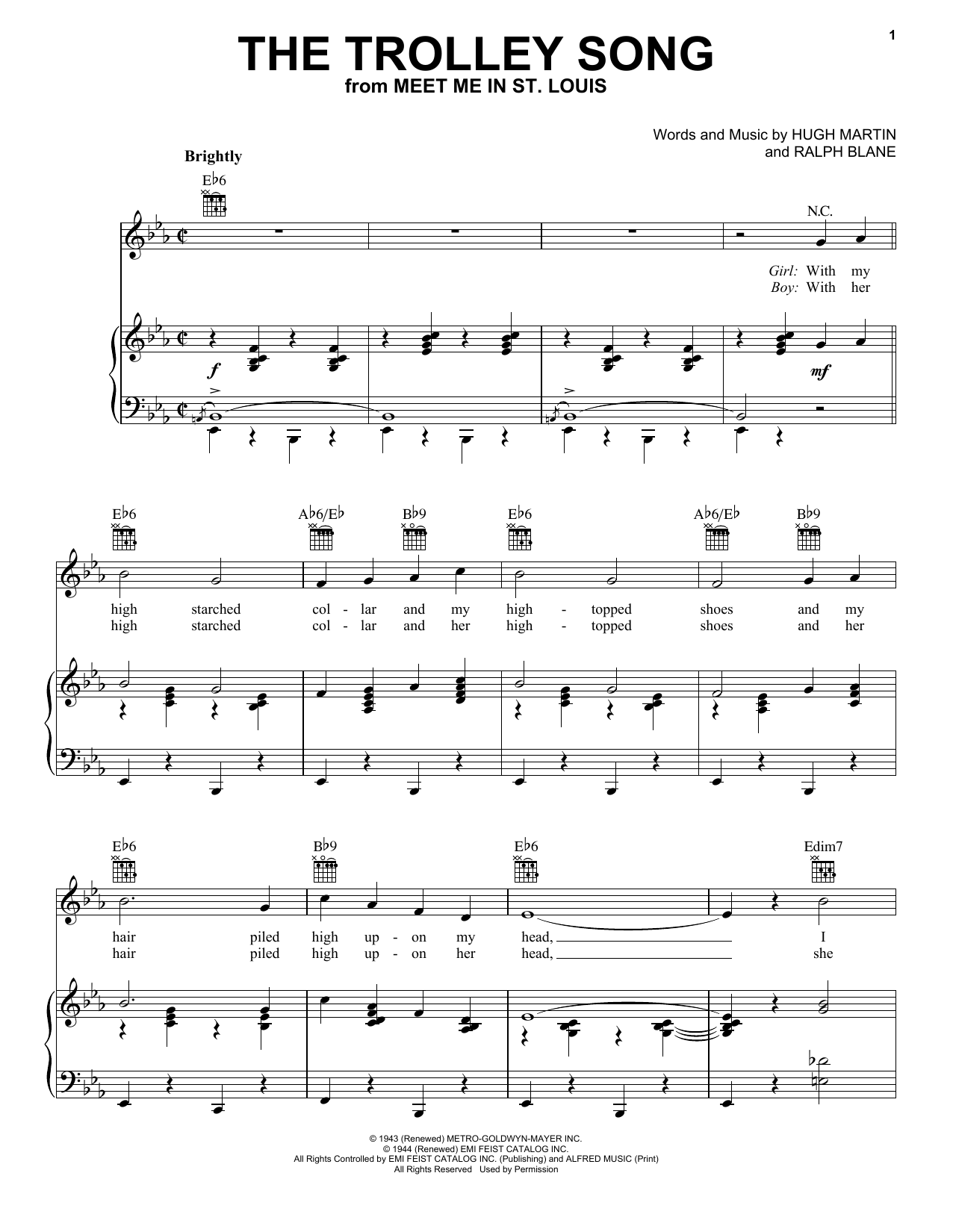 Judy Garland 'The Trolley Song' Sheet Music Notes, Chords | Download  Printable Piano, Vocal & Guitar (Right-Hand Melody) - SKU: 24165