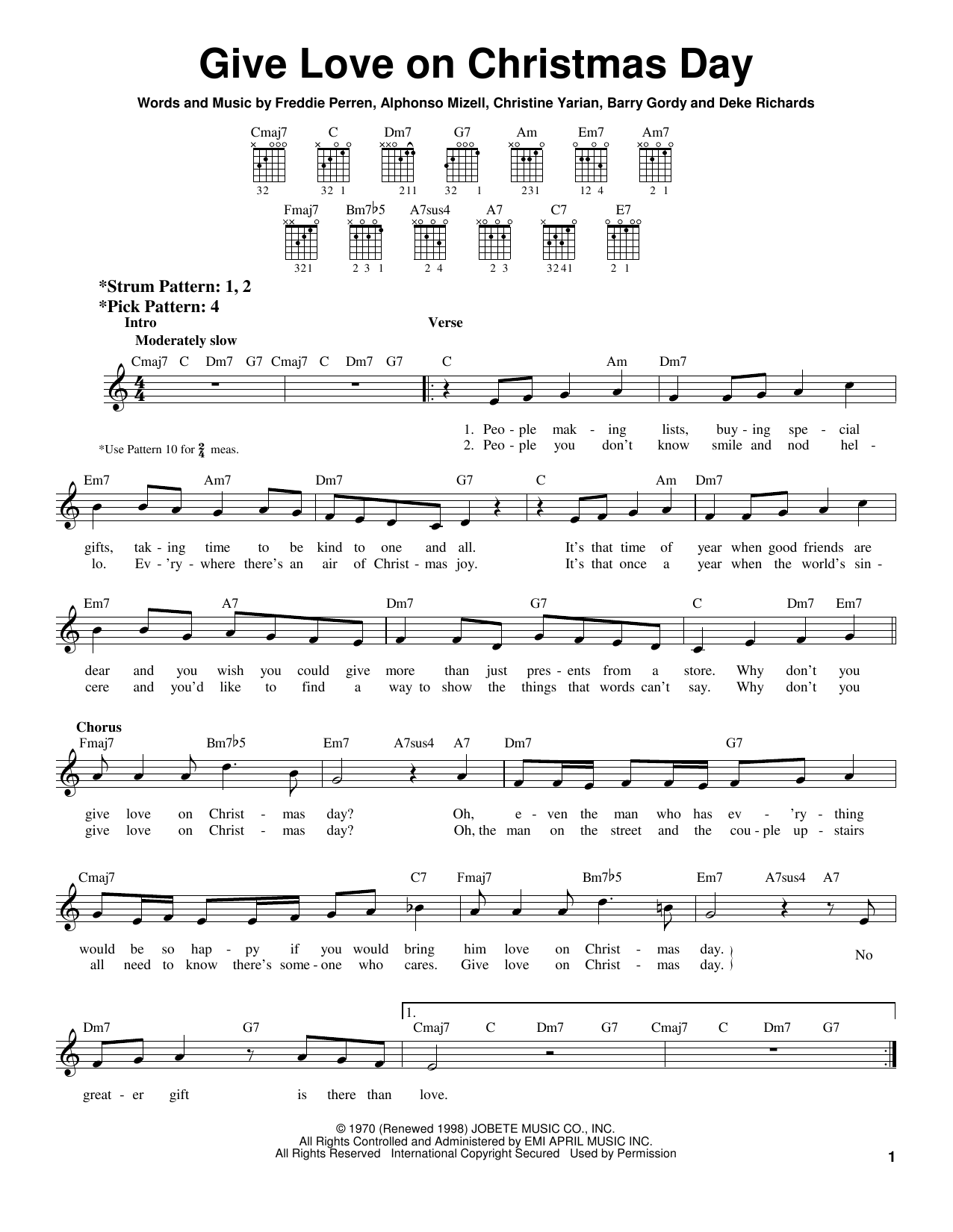 Johnny Gill Give Love On Christmas Day Sheet Music Notes Chords