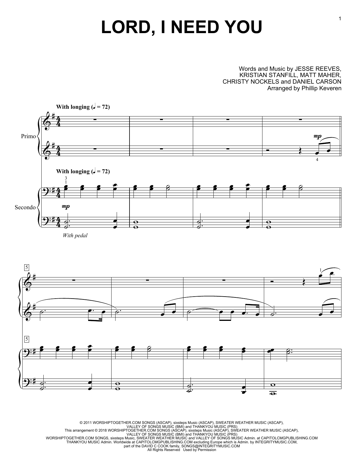 Phillip Keveren Lord I Need You Sheet Music Notes Chords