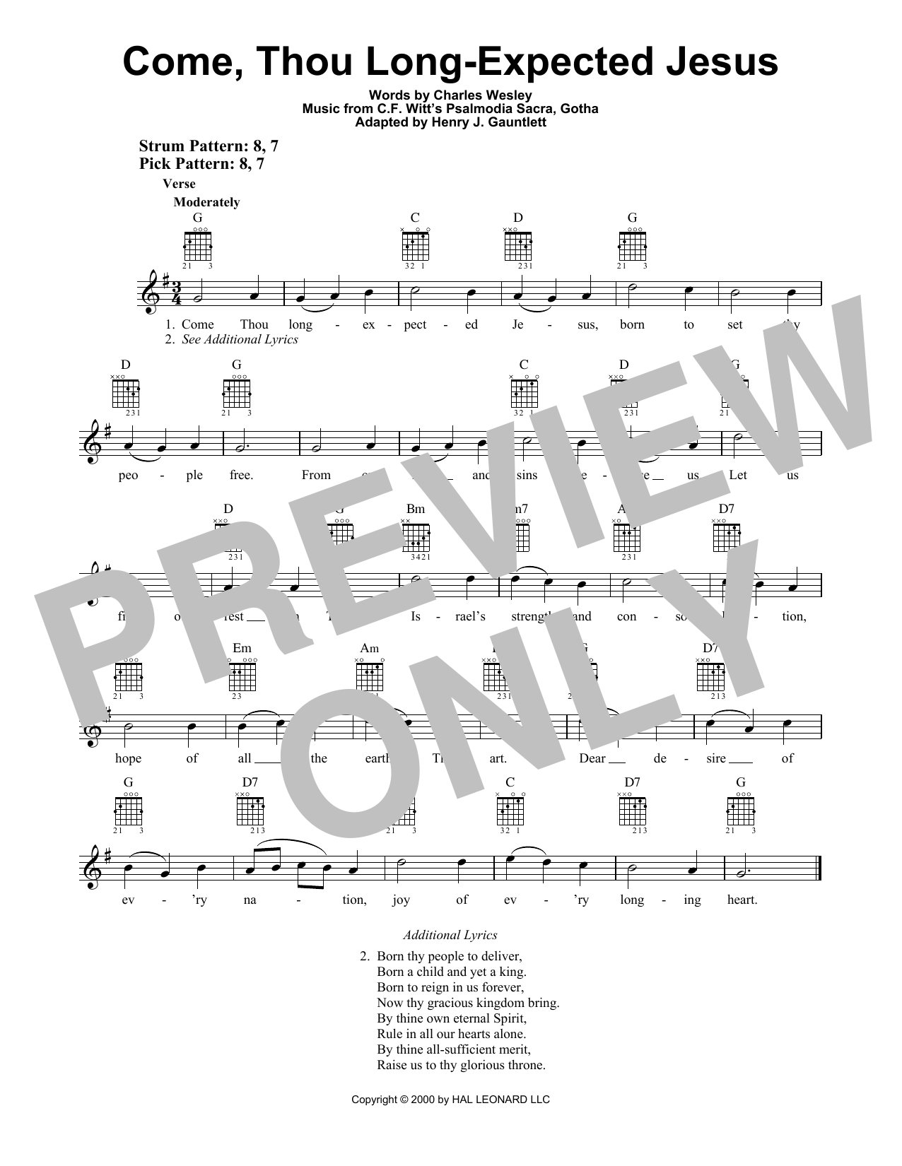Cf Witt Come Thou Long Expected Jesus Sheet Music Notes Chords