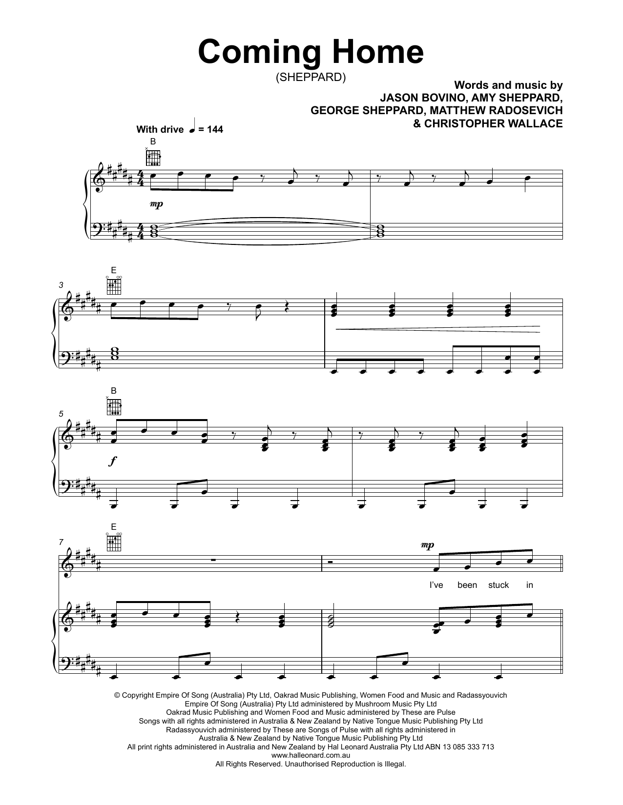 Sheppard Coming Home Sheet Music Notes Chords Printable Pop