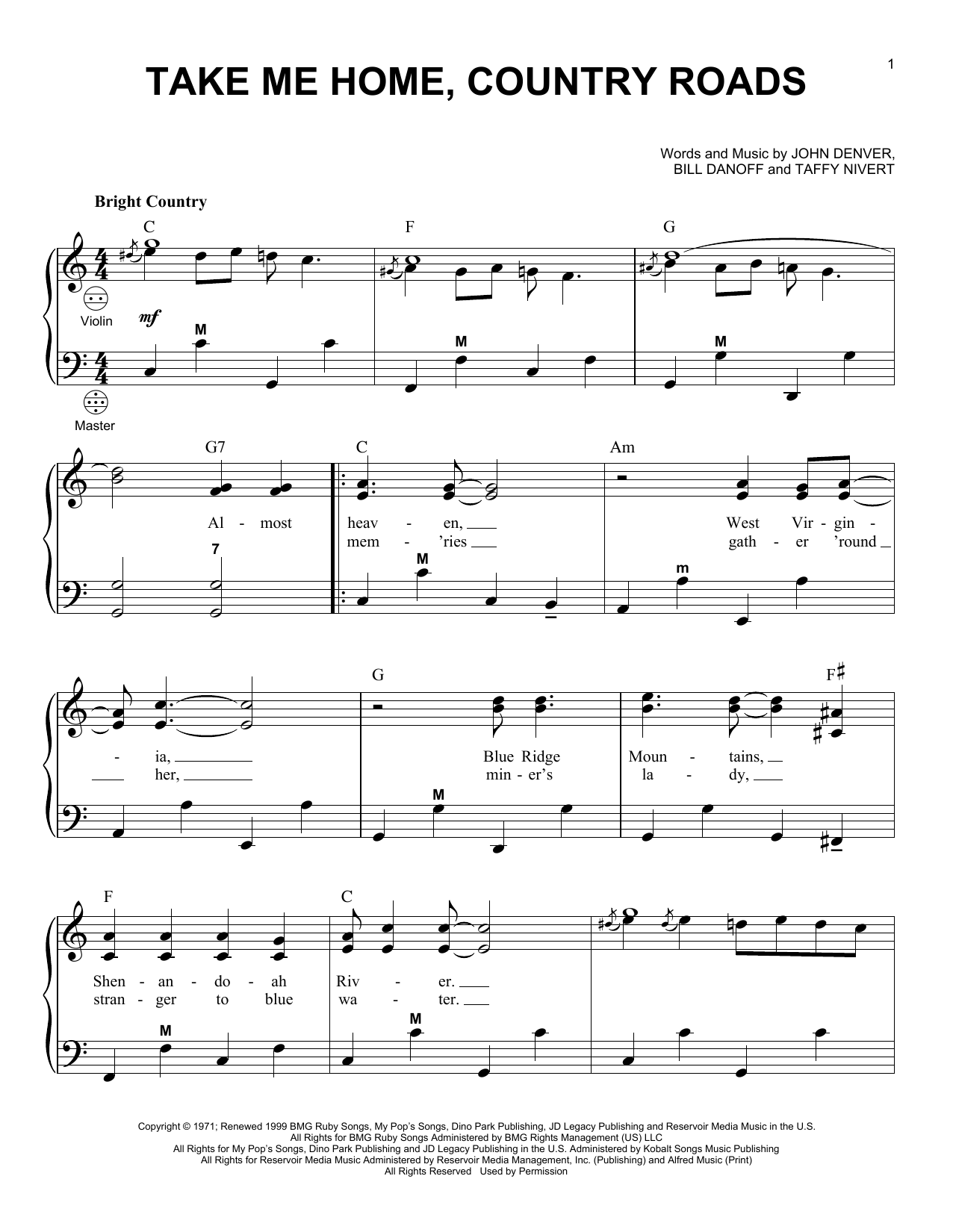 John Denver Take Me Home Country Roads Sheet Music Notes Chords