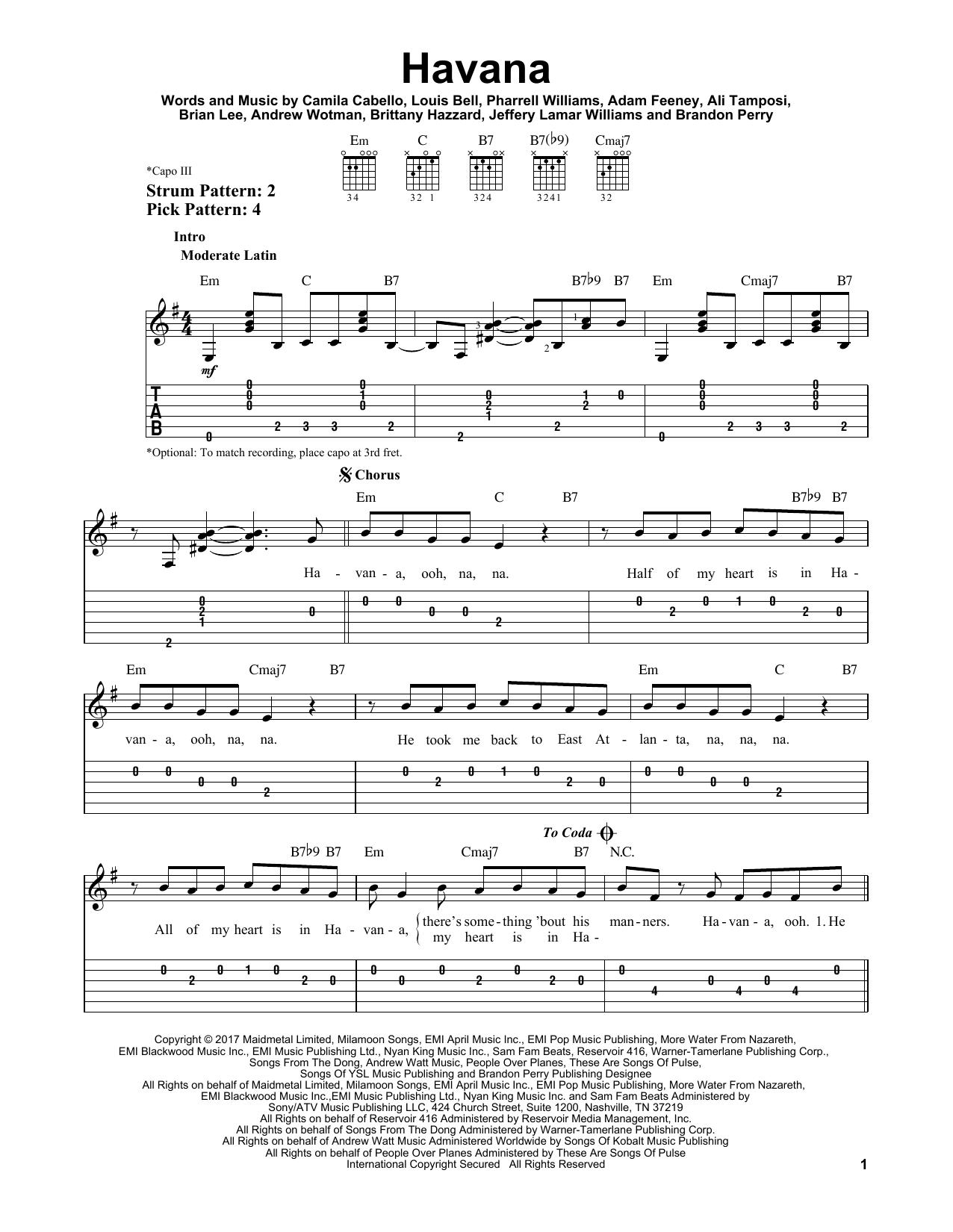 Camila Cabello Havana Sheet Music Notes Chords Printable Pop
