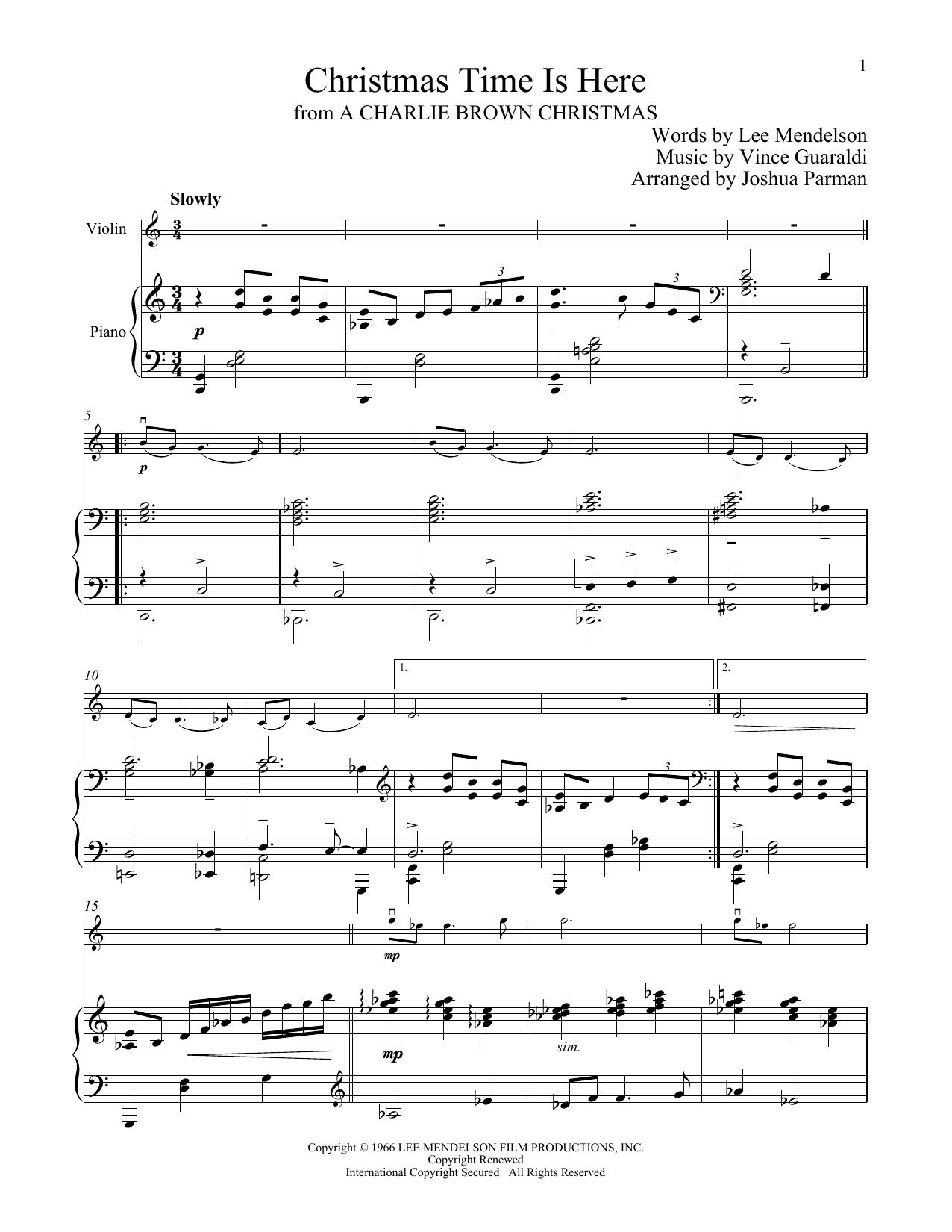 Christmas Time Is Here Chords.Vince Guaraldi Christmas Time Is Here Sheet Music Notes Chords Download Printable Violin And Piano Sku 251175