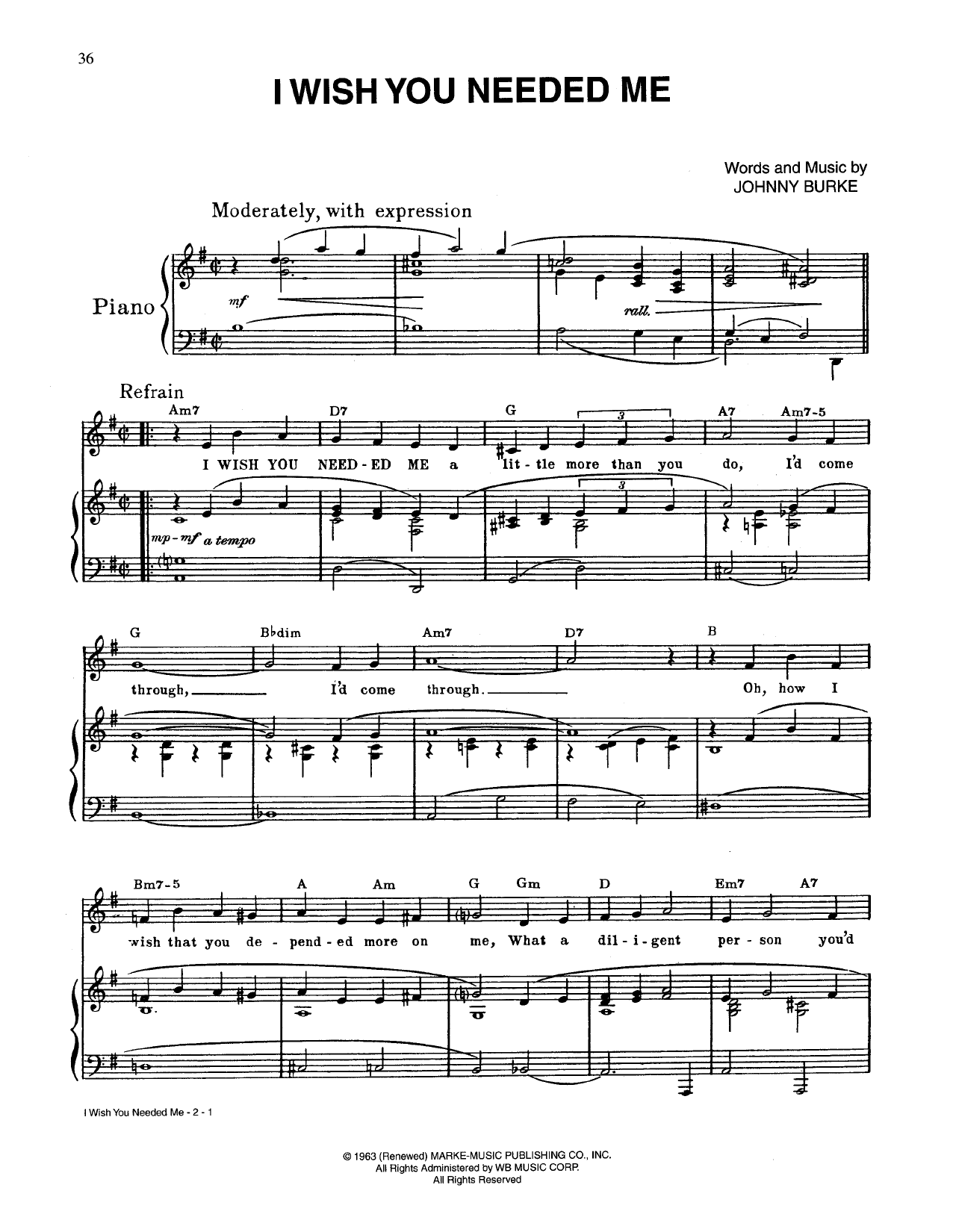 Johnny Burke I Wish You Needed Me Sheet Music Notes Chords