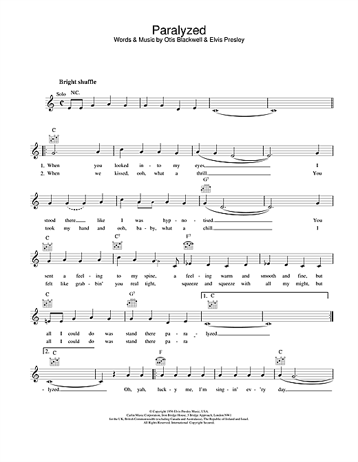 Elvis Presley Paralyzed Sheet Music Notes Chords Printable Pop