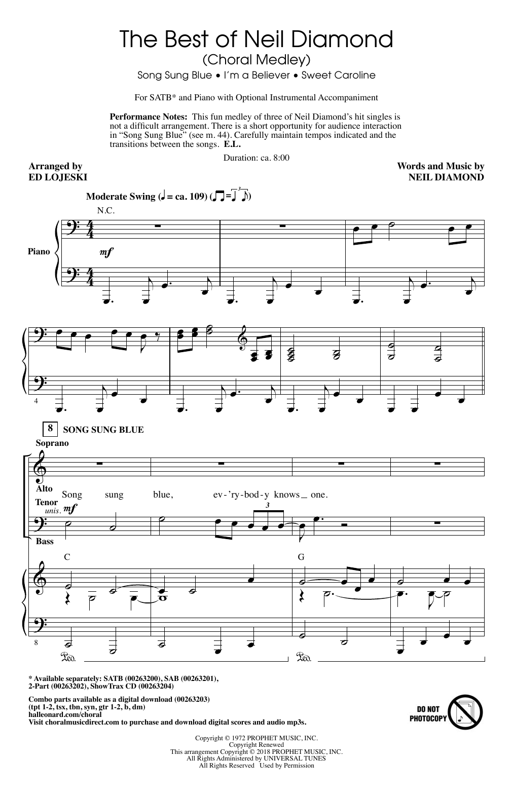Ed Lojeski The Best Of Neil Diamond Choral Medley Sheet Music