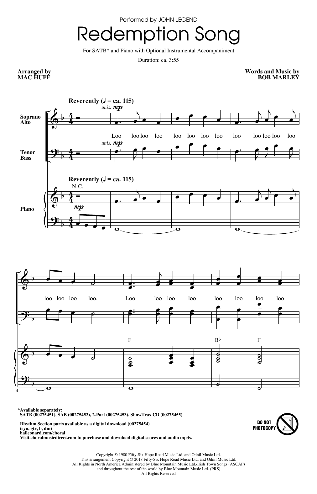 Mac Huff Redemption Song Sheet Music Notes Chords Printable