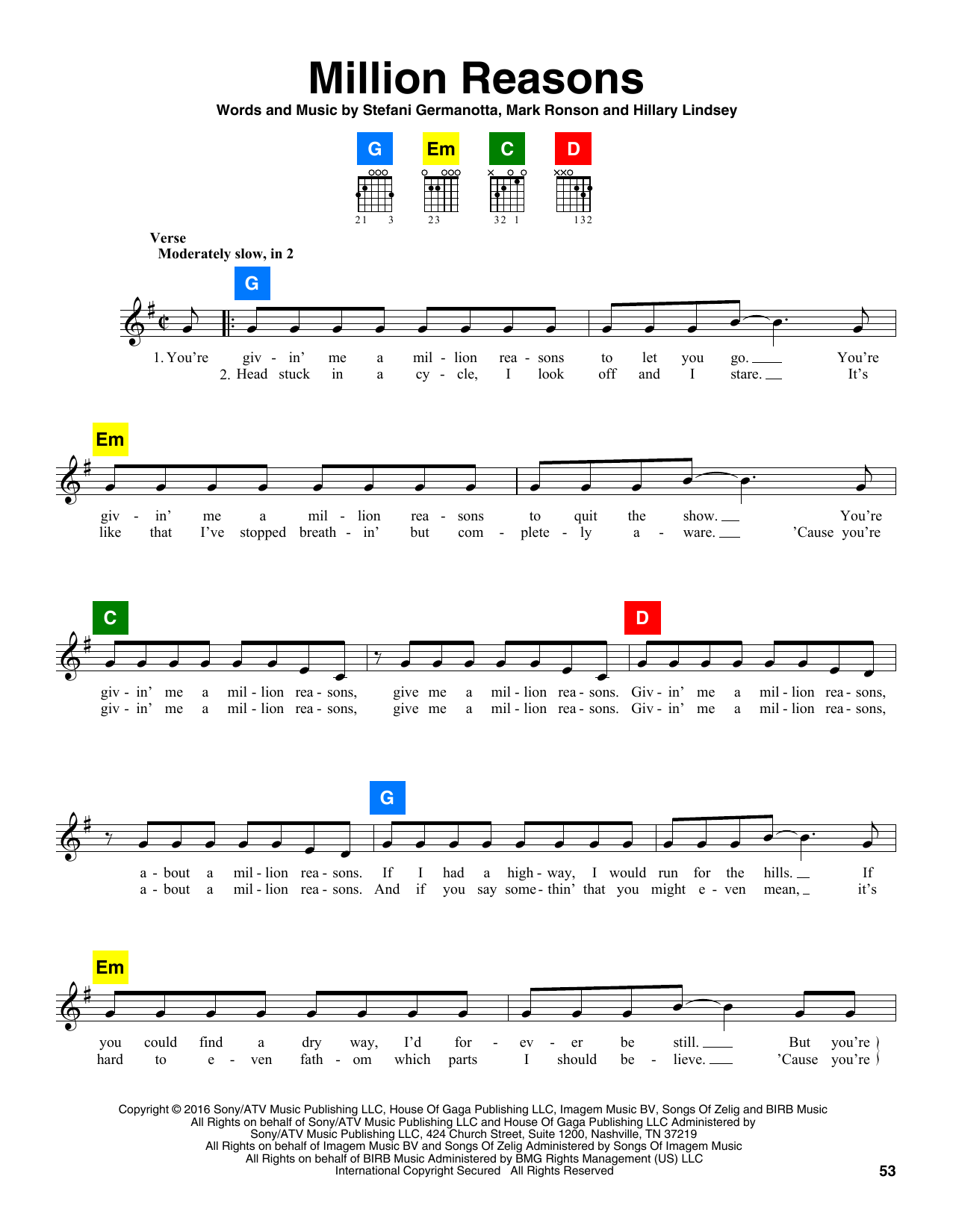 you and i lady gaga chords