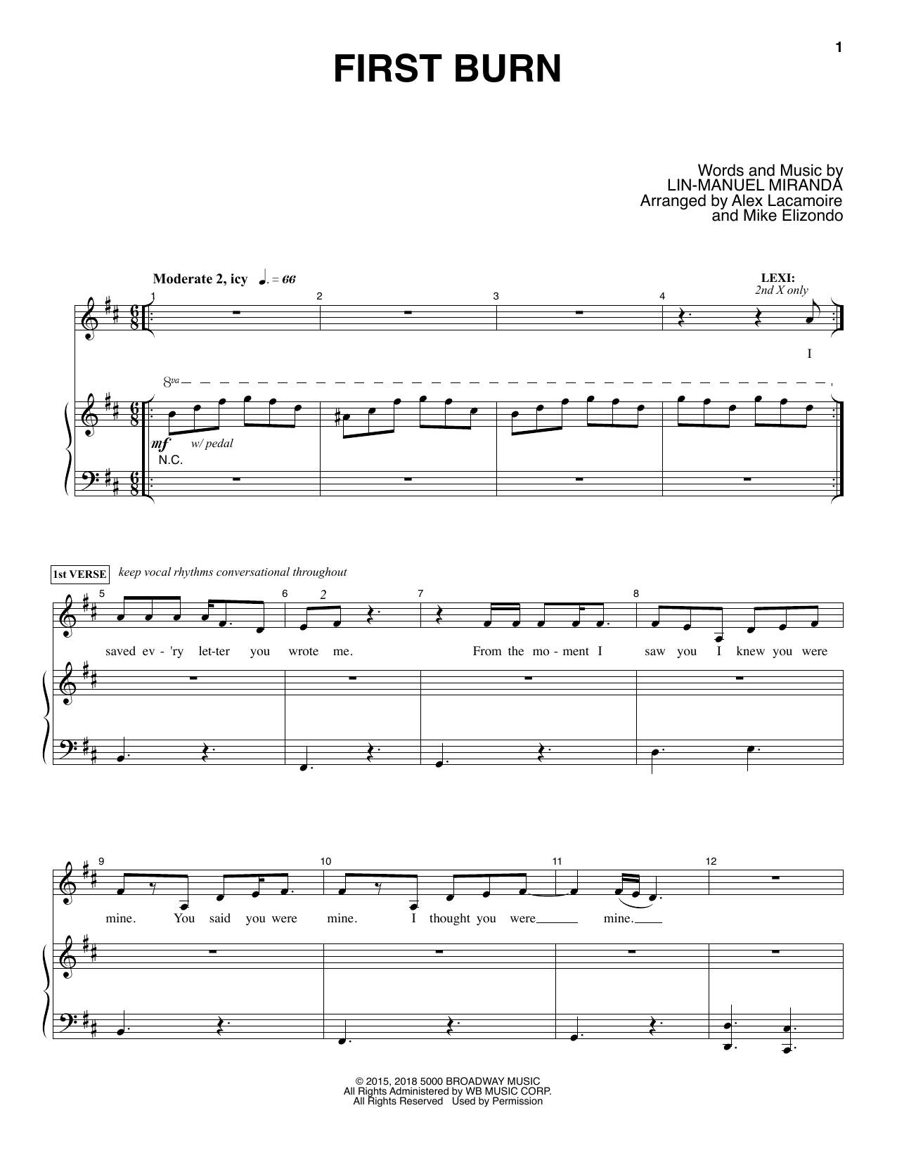 Lin Manuel Miranda First Burn Sheet Music Notes Chords