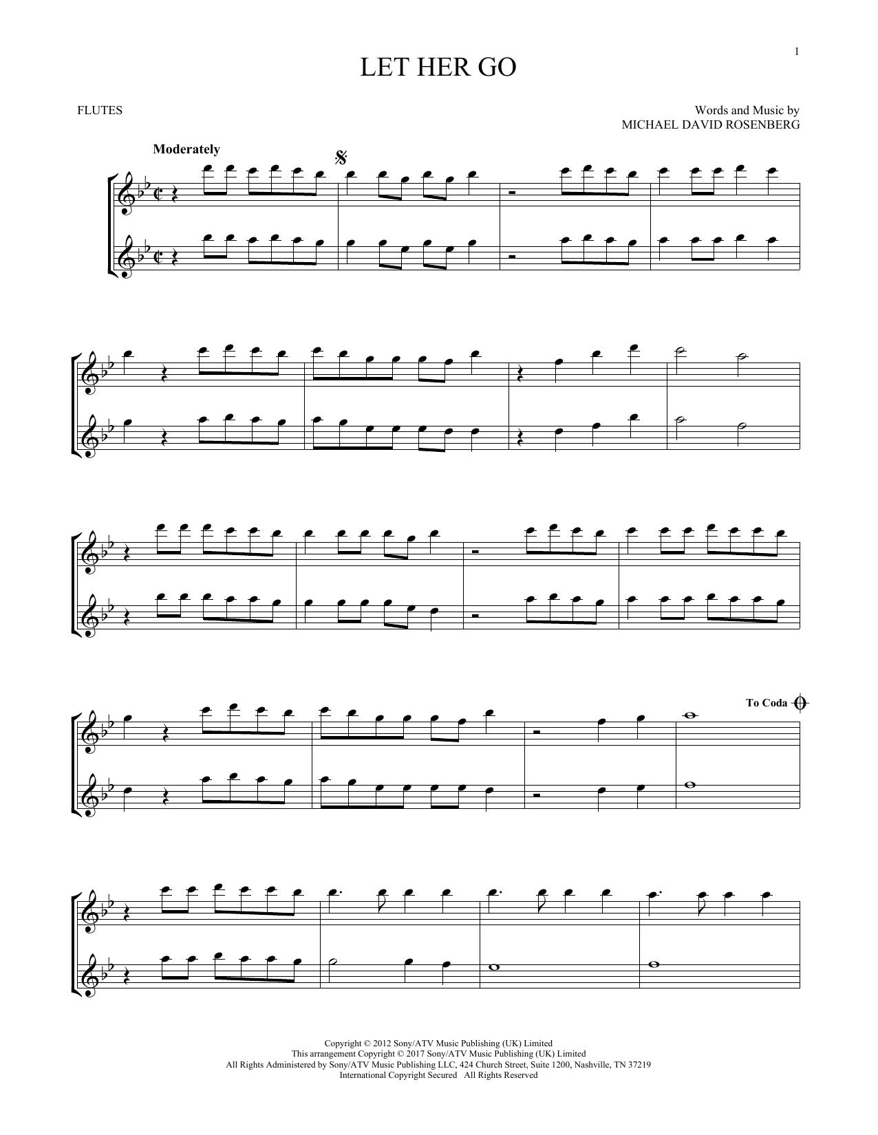 Passenger Let Her Go Sheet Music Notes Chords Printable Rock