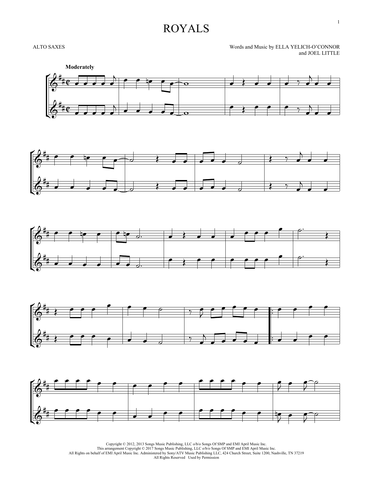 Lorde Royals Sheet Music Notes Chords Printable Rock Alto