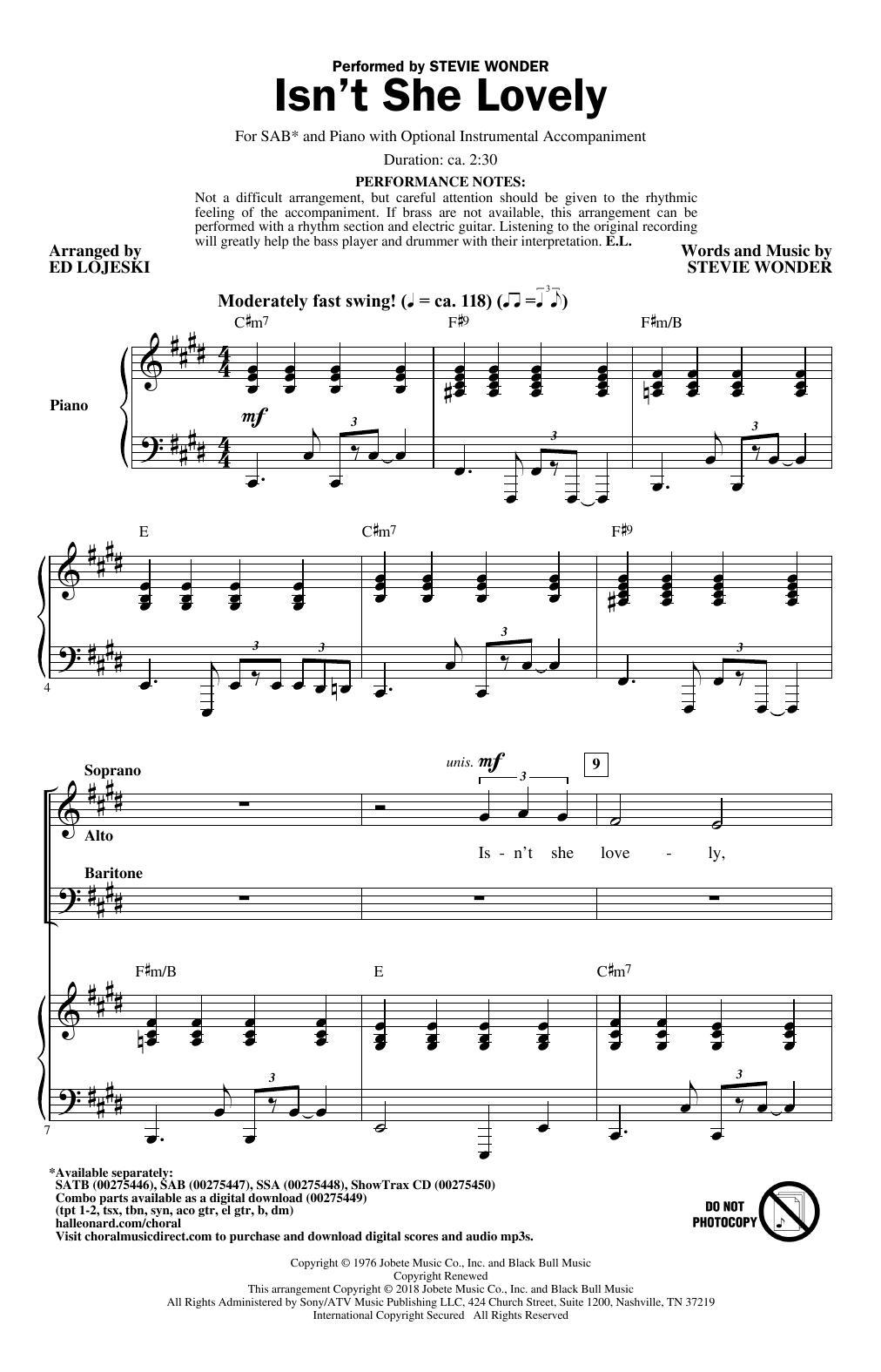 Ed Lojeski Isnt She Lovely Sheet Music Notes Chords Printable