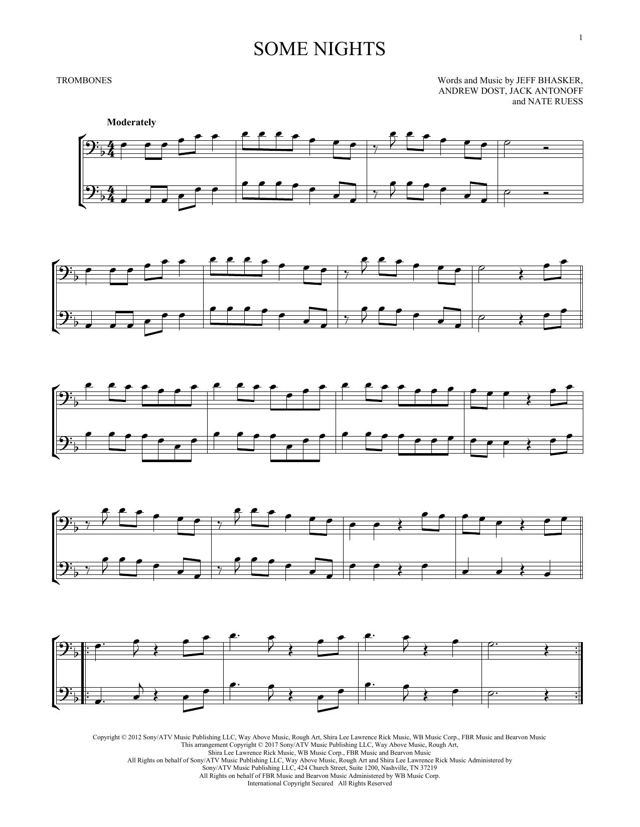 Fun Some Nights Sheet Music Notes Chords Printable Rock