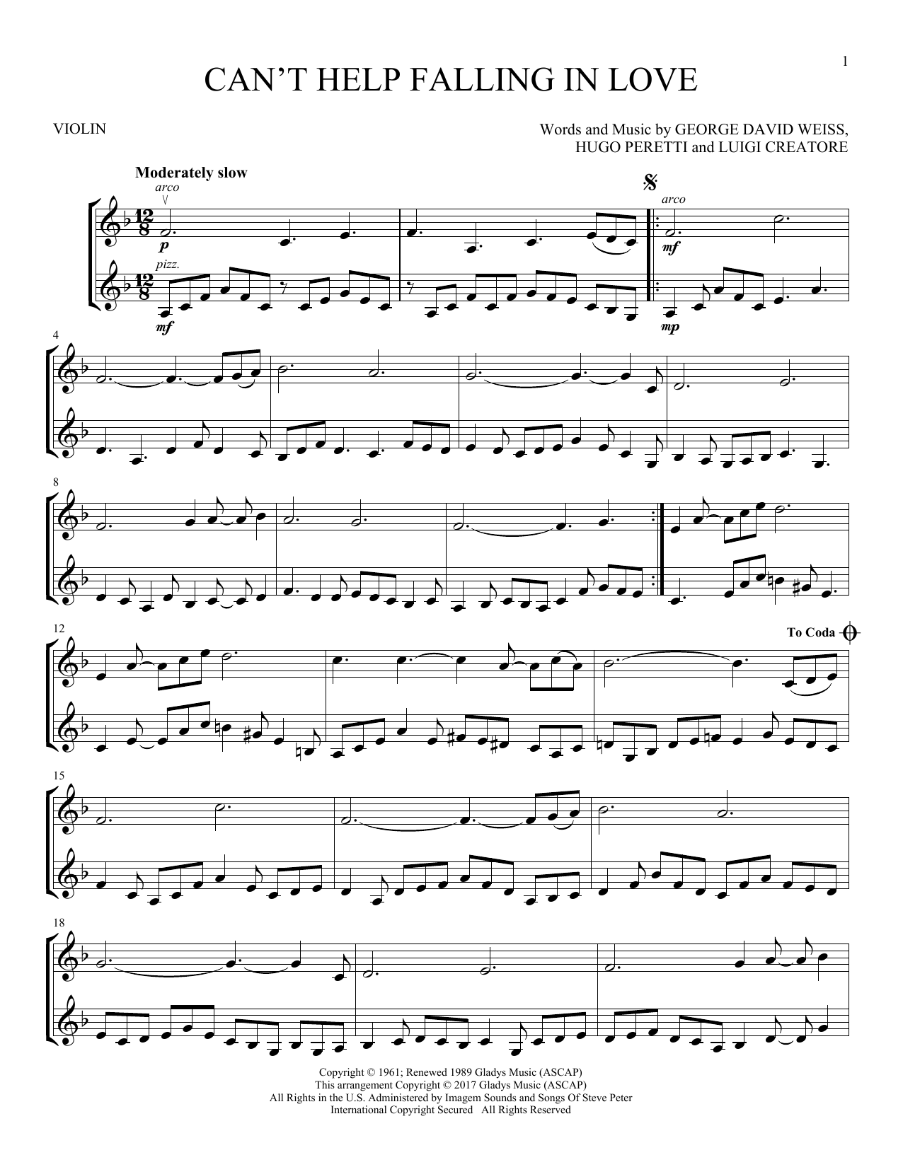 Elvis Presley Cant Help Falling In Love Sheet Music Notes Chords