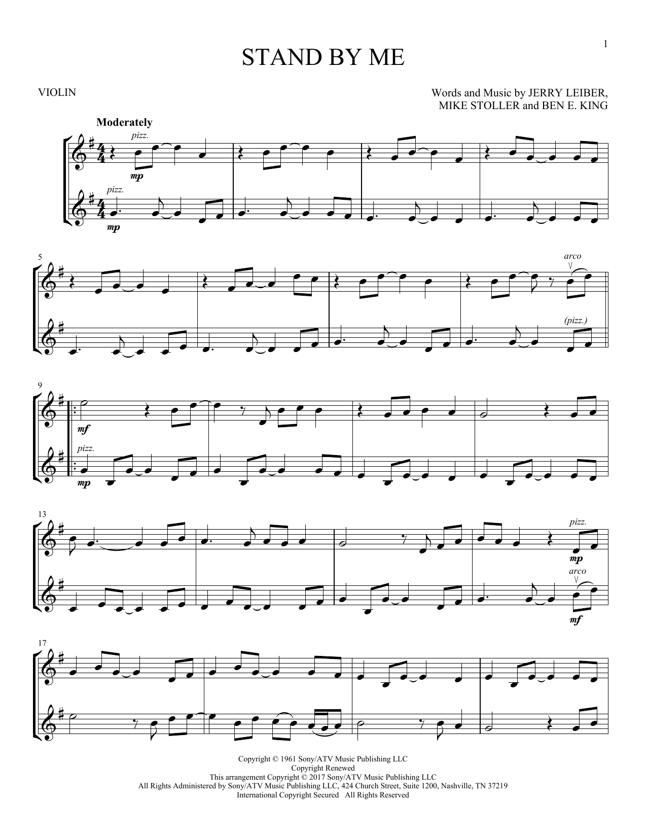 Ben E King Stand By Me Sheet Music Notes Chords Printable