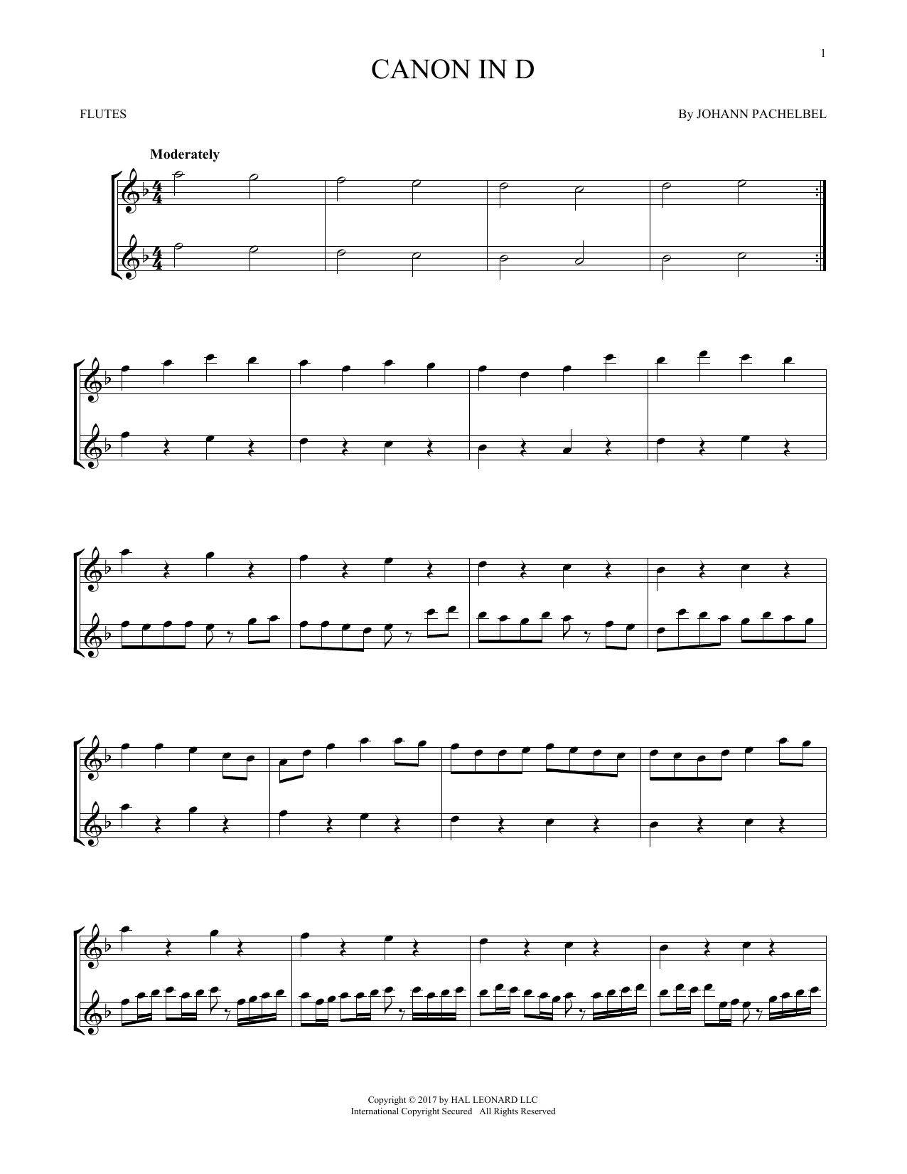Johann Pachelbel Canon In D Sheet Music Notes Chords Printable