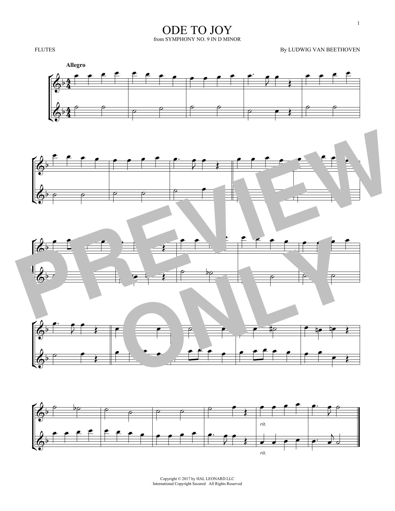 Ludwig van Beethoven 'Ode To Joy' Sheet Music Notes, Chords | Download  Printable Flute Duet - SKU: 253195