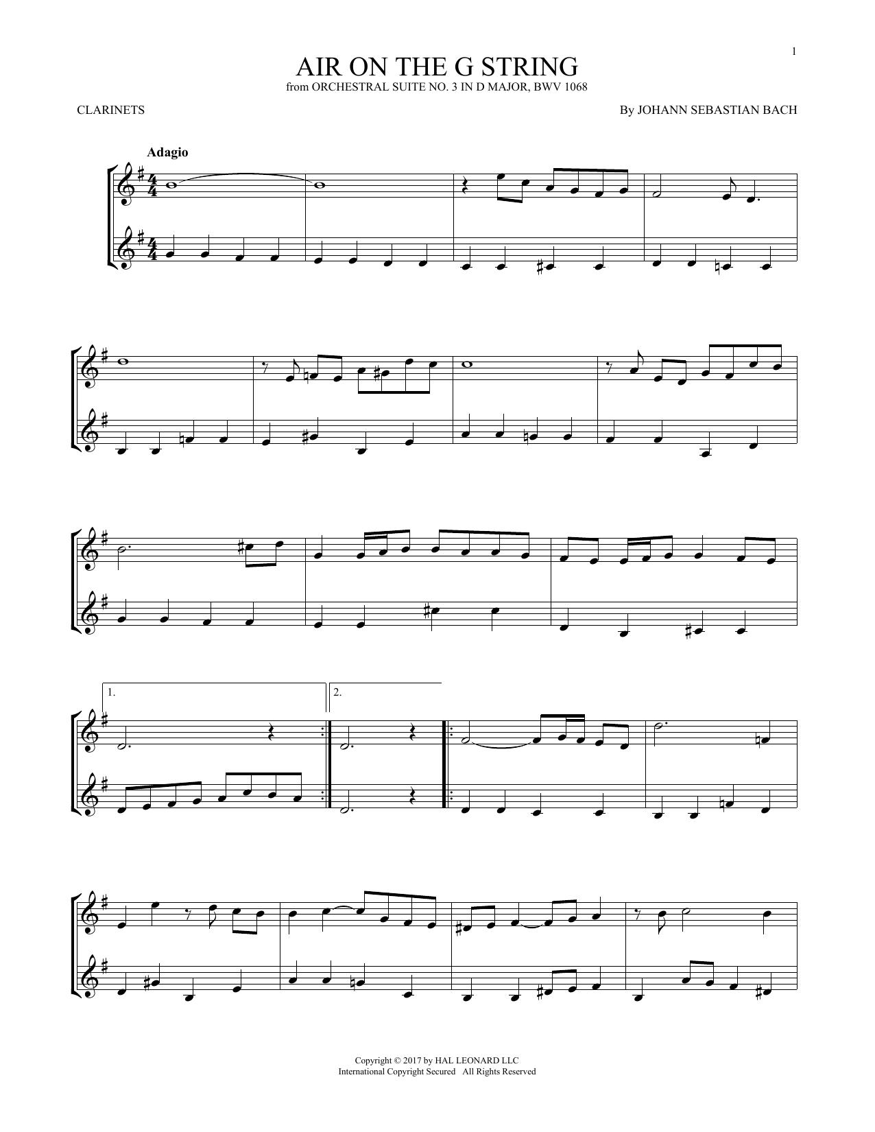 Johann Sebastian Bach 'Air (Air On The G String)' Sheet Music Notes, Chords  | Download Printable Clarinet Duet - SKU: 253341