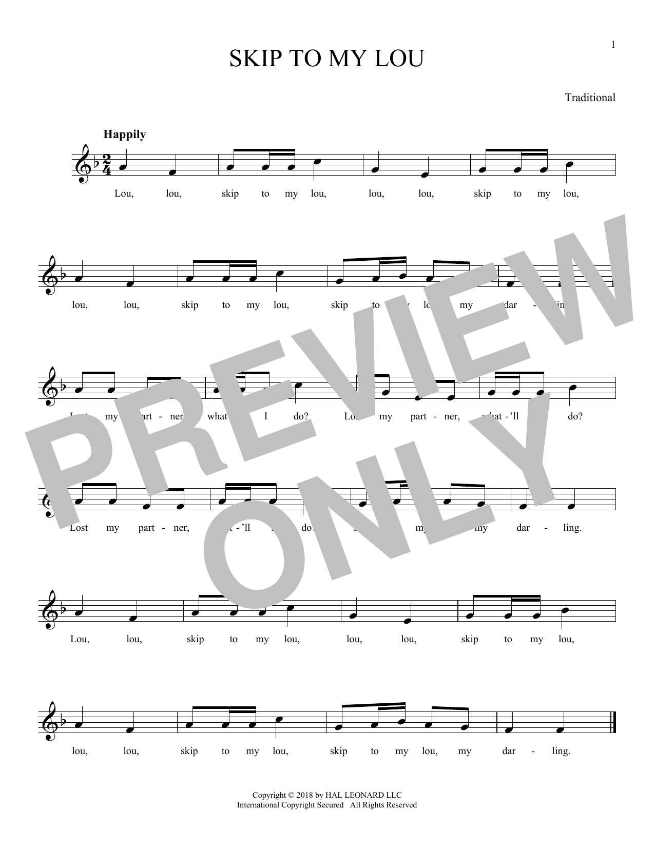 Traditional Skip To My Lou Sheet Music Notes Chords Printable