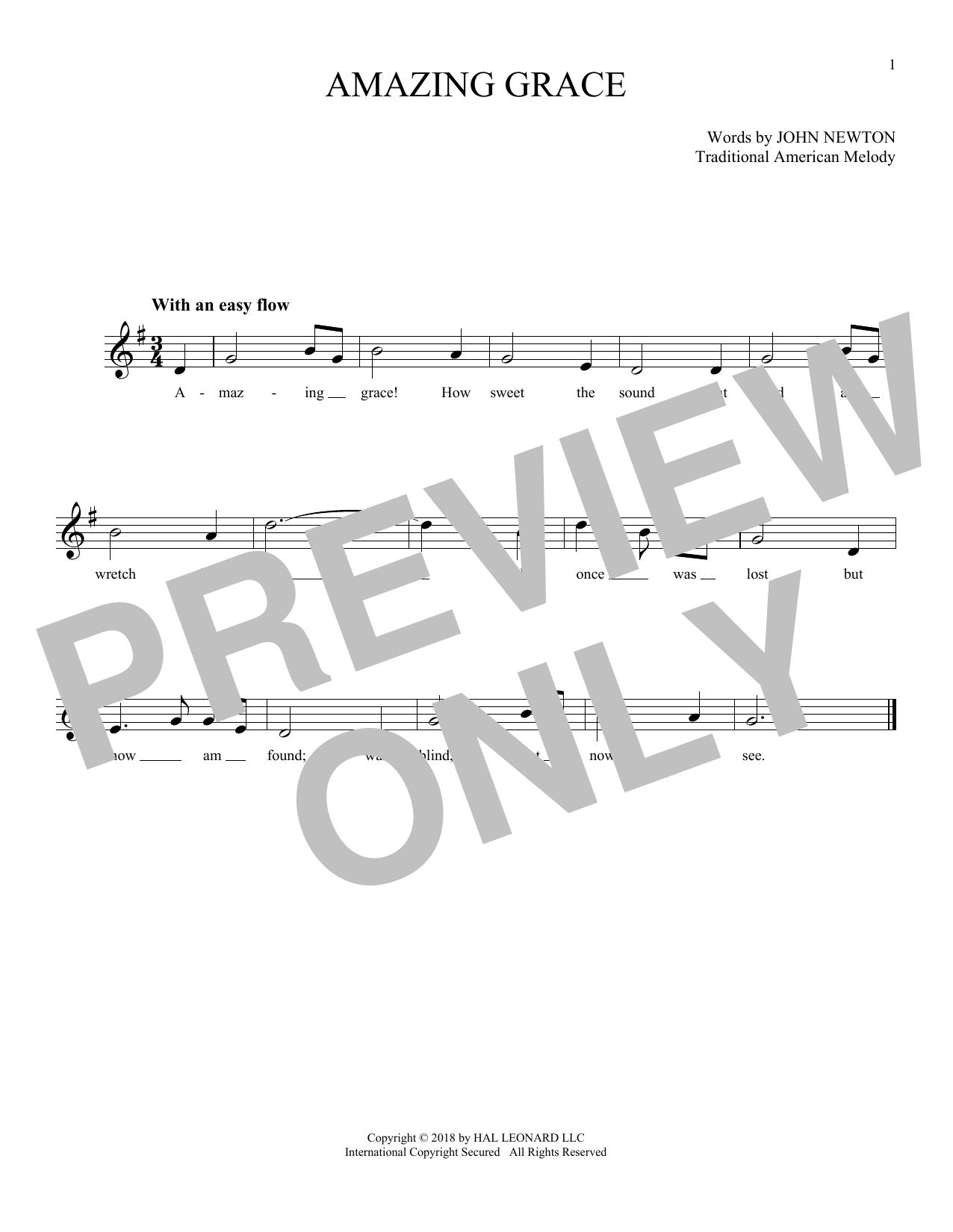 Traditional American Melody Amazing Grace Sheet Music Notes