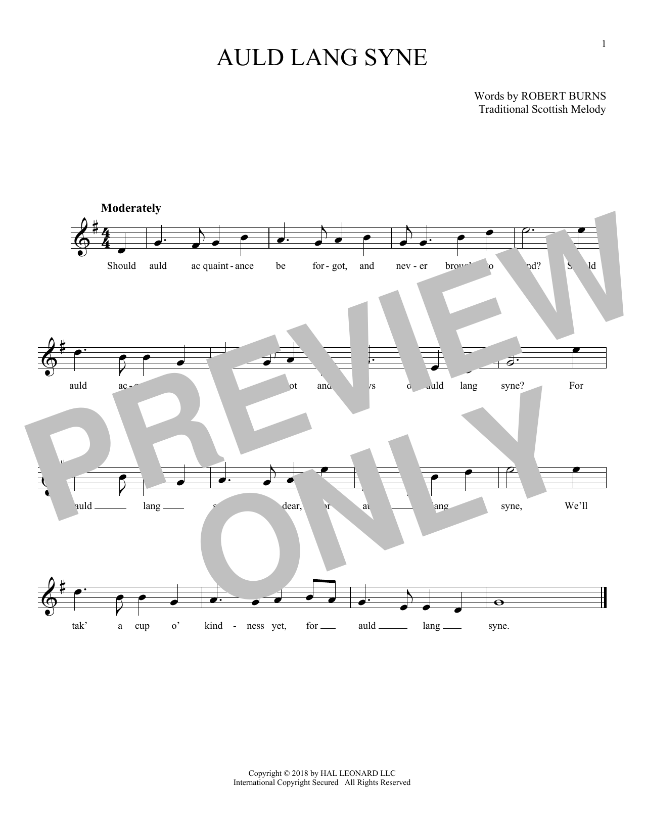 Auld Lang Syne By Traditional Digital Notes