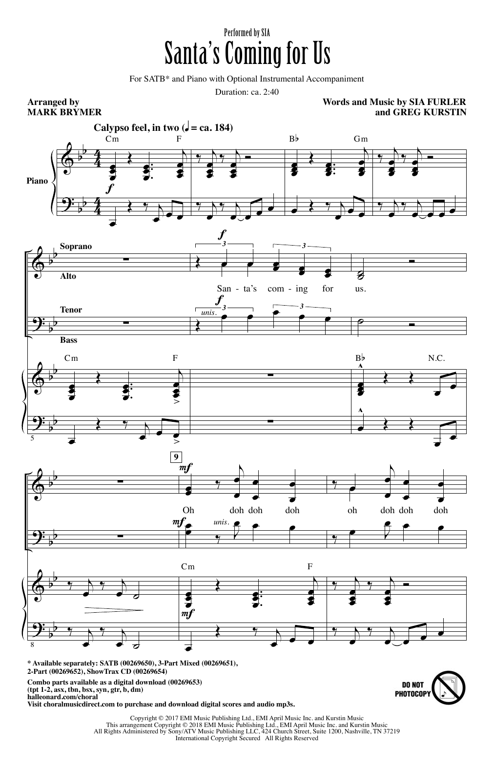 Sia Santas Coming For Us Arr Mark Brymer Sheet Music Notes