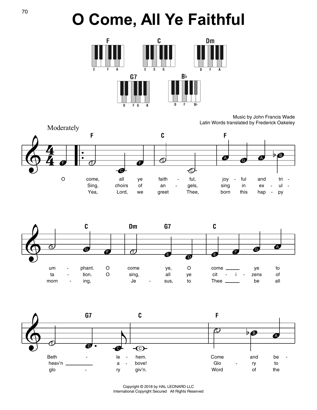 John Francis Wade O Come All Ye Faithful Sheet Music Notes