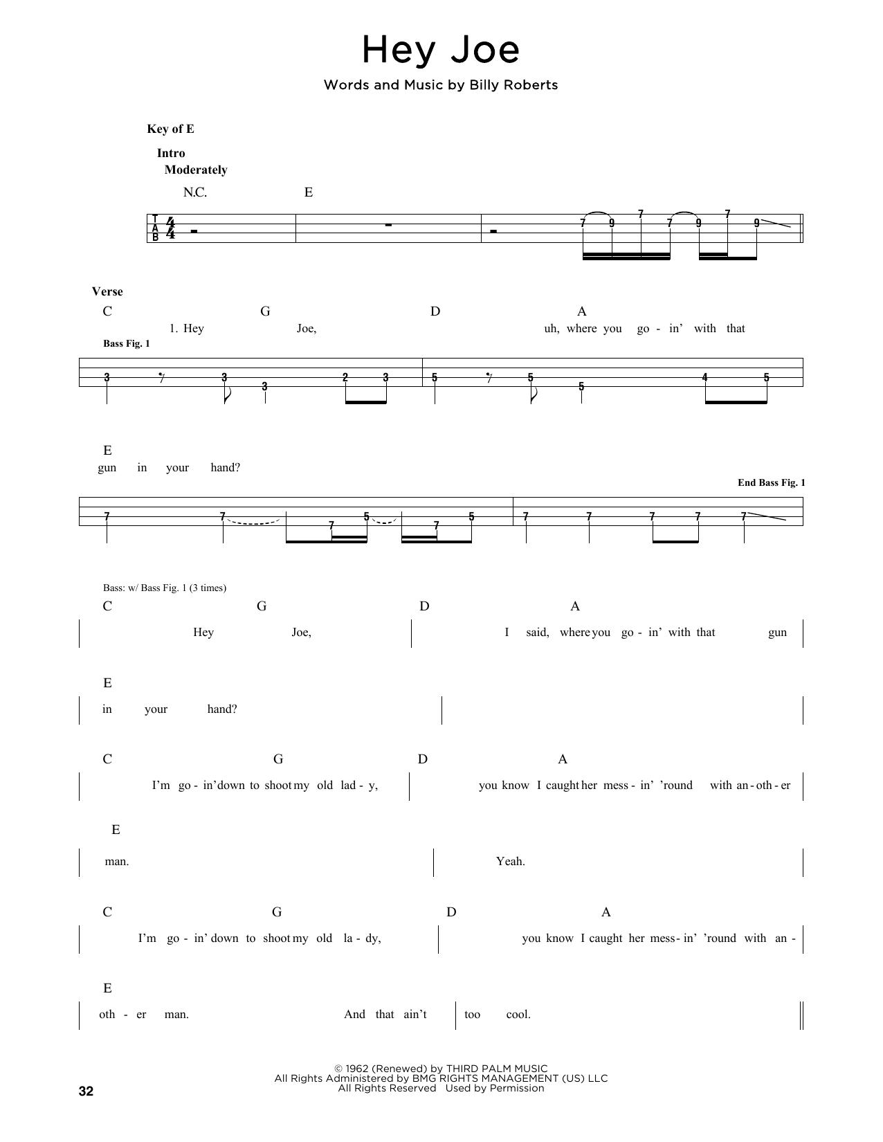 Jimi Hendrix Hey Joe Sheet Music Notes Chords Printable Rock
