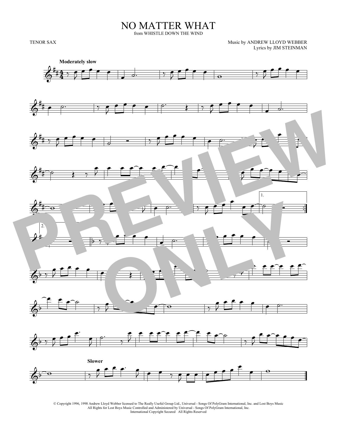 Andrew Lloyd Webber No Matter What Sheet Music Notes Chords