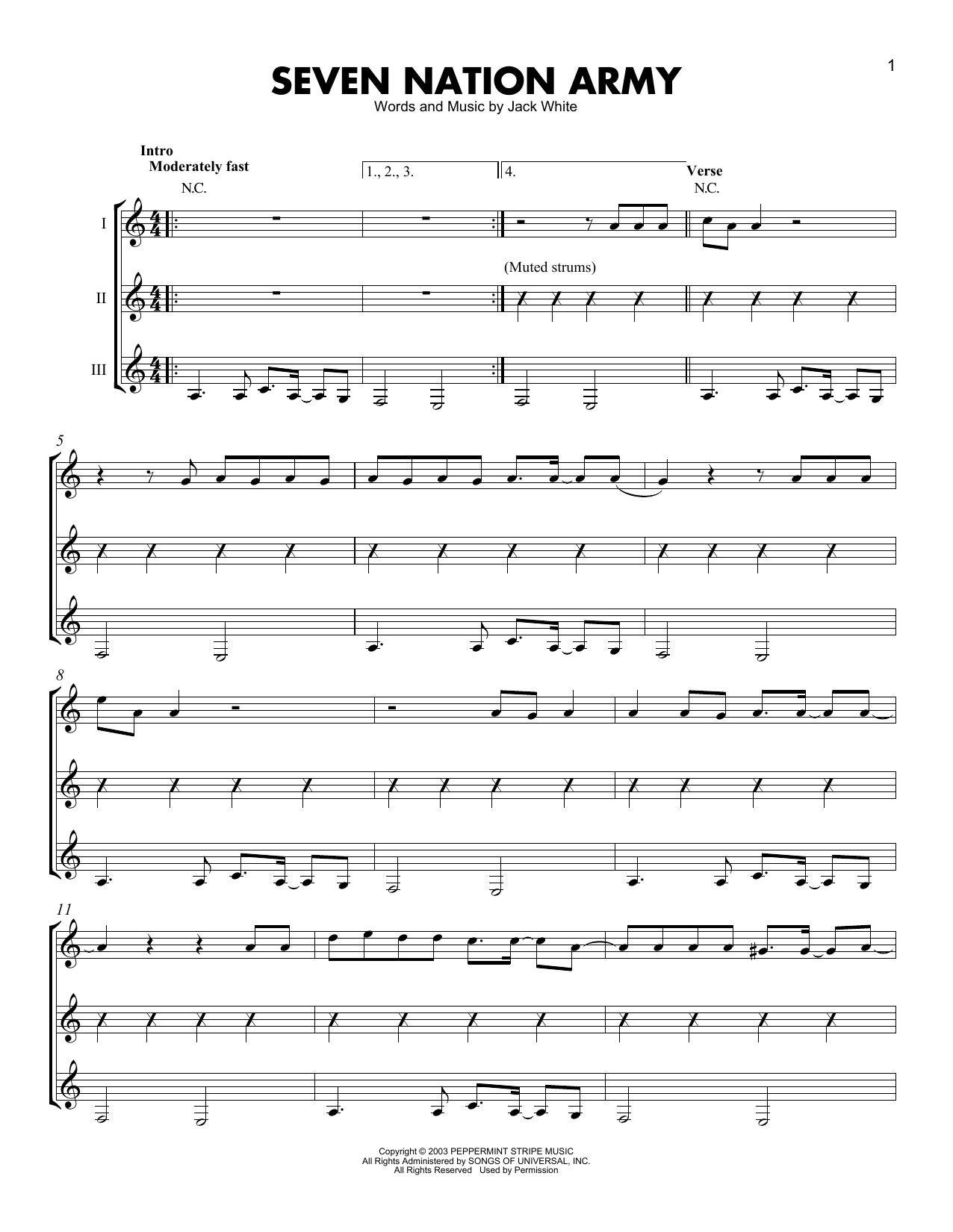 White Stripes Seven Nation Army Sheet Music Notes Chords