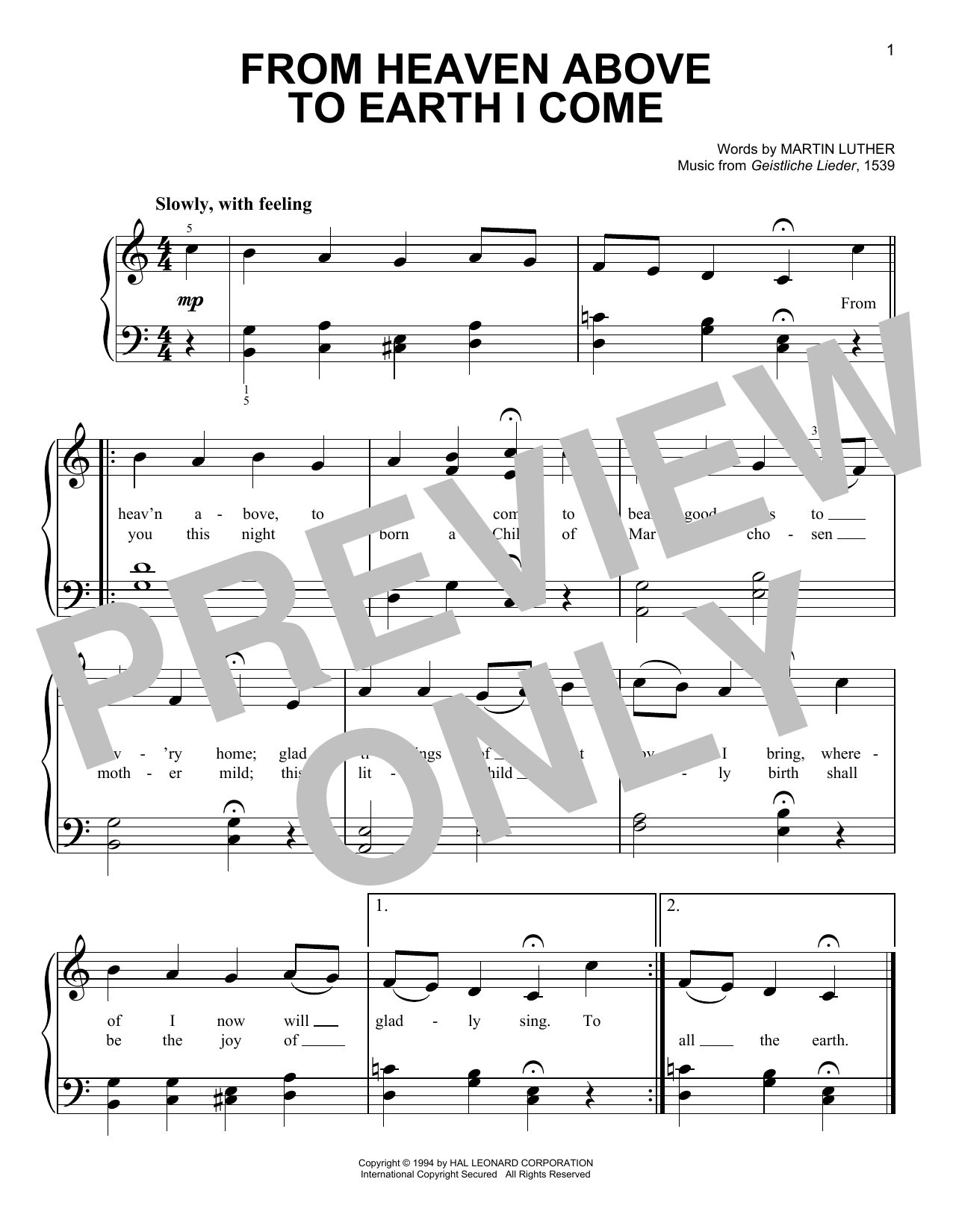 Geistliche Lieder From Heaven Above To Earth I Come Sheet Music