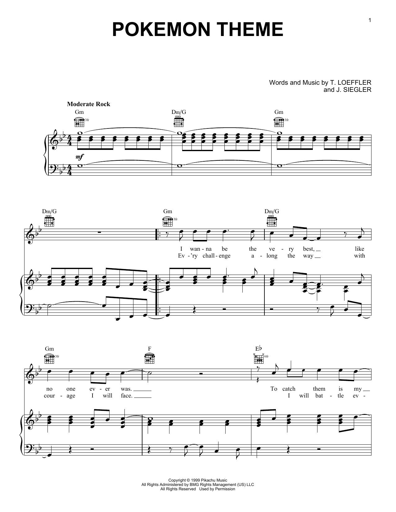 J Siegler Pokemon Theme Sheet Music Notes Chords Printable Video