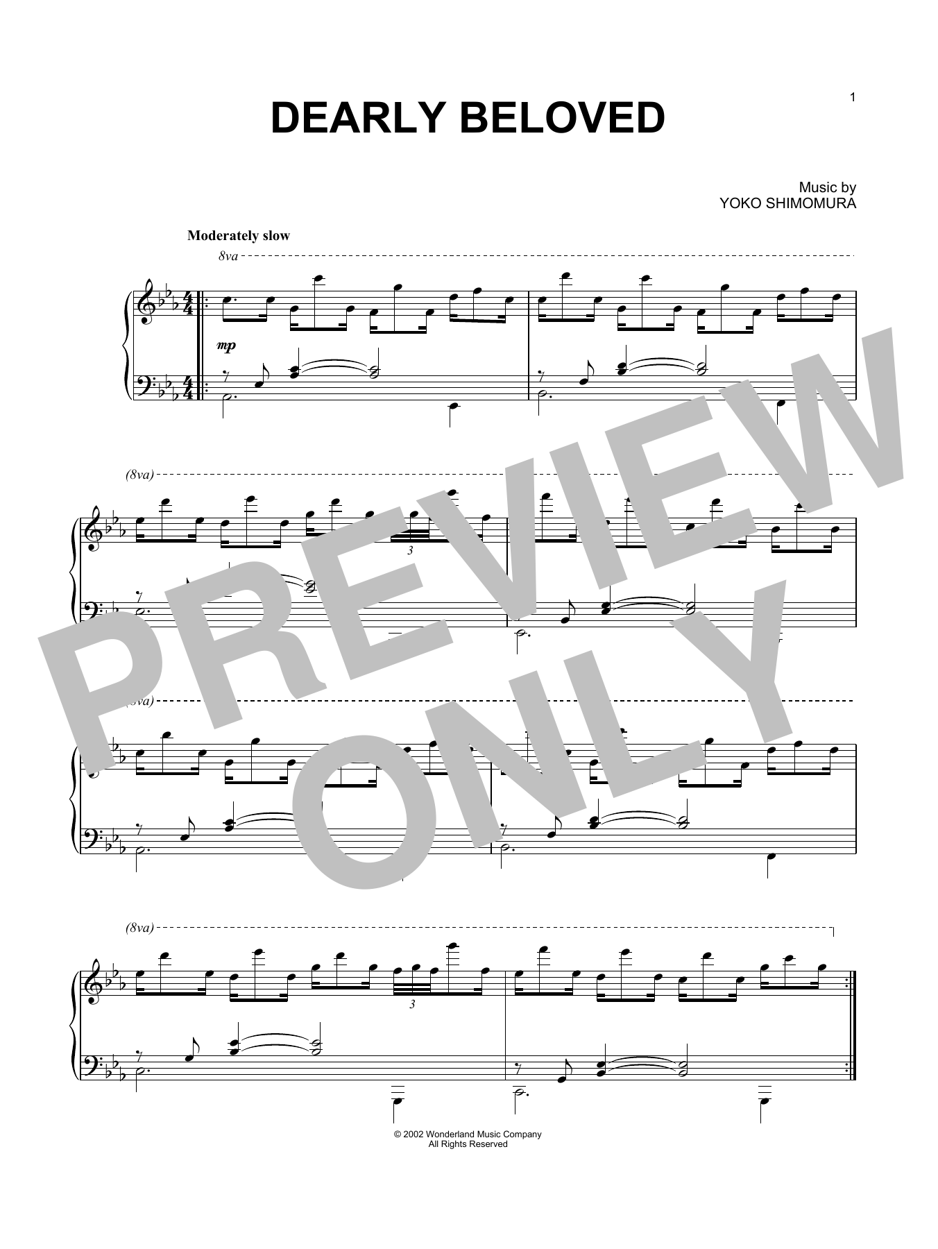 Yoko Shimomura Dearly Beloved Sheet Music Notes Chords Printable