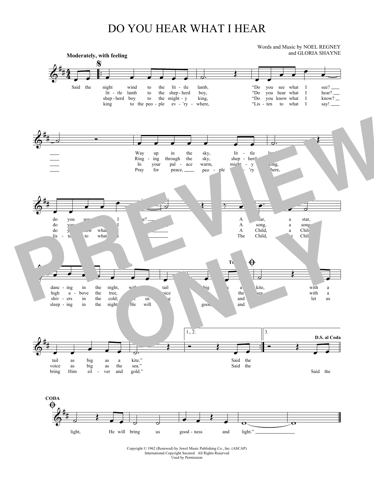 Gloria Shayne Do You Hear What I Hear Sheet Music Notes Chords