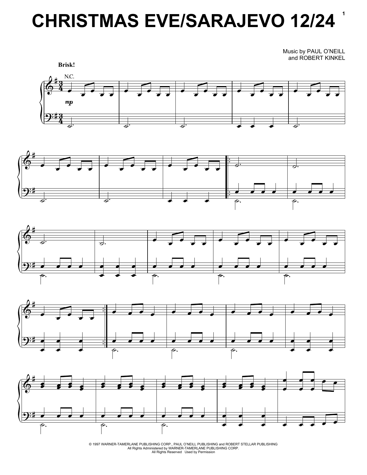 Davidcrowder Band Christmas Evesarajevo 1224 Sheet Music Notes